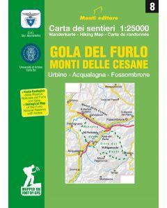 MONTI EDITORE - Cartina sentieri 1:25000 Gola del Furlo monti della Cesane