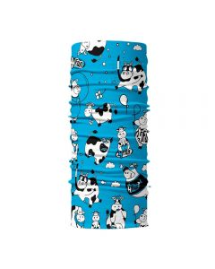 4FUN - Scalda collo scarf 8 in 1 in micro fibra Standard per bambini - colore Funny cow blue