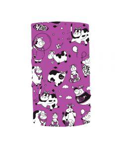 4FUN - Scalda collo scarf 8 in 1 in micro fibra Standard per bambini - colore Funny cow viola