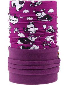 4FUN - Scalda collo scarf 8 in 1 in Polartec e Micro fibra per bambini - colore Funny Cow Viola
