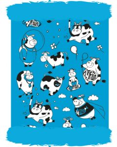 4FUN - Scalda collo scarf in Polartec Pro reversibile per bambini - colore Funny Cow Blue Kid