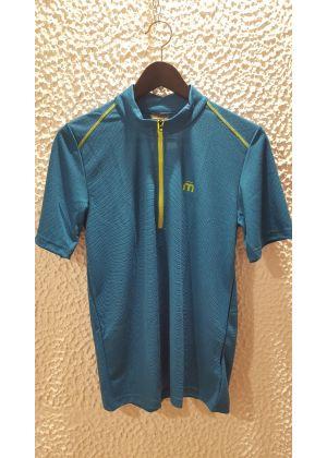 MICO - T-Shirt uomo mezza zip Dry Clim Mid Layer Outer Wear - Petrolio