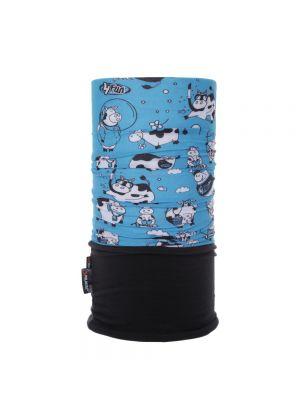 4FUN - Scalda collo scarf 8 in 1 in Polartec e Micro fibra per bambini - colore Funny Cow Blue