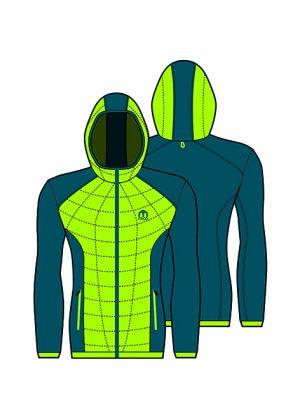 MICO - Maglia uomo con il cappuccio in Primaloft zip intera - Giallo - tg. XL