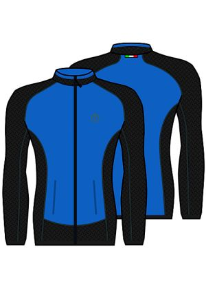MICO - Maglia uomo Merinos zip intera con tasche - Blu