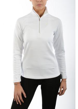 MICO - Maglia donna mezza zip secondo strato Micofleece - bianco