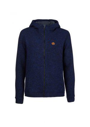 E9 - Giacca uomo con cappuccio in lana pesante Mimmo - Blu