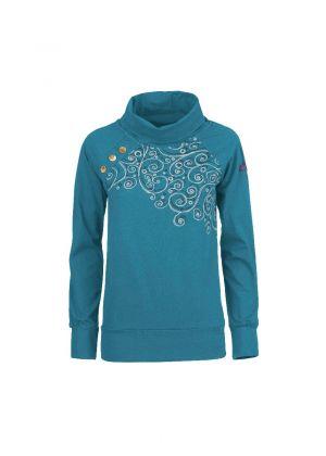E9 - T-Shirt donna manica lunga in canapa Sara - Deep Blu