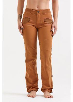 E9 - Pantalone donna in cotone per palestra arrampicata Onda Slim2 - Tobacco