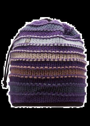E9 - Capello e scalda collo lana maglia grossa interno pile Tubo Stripe - Magenta
